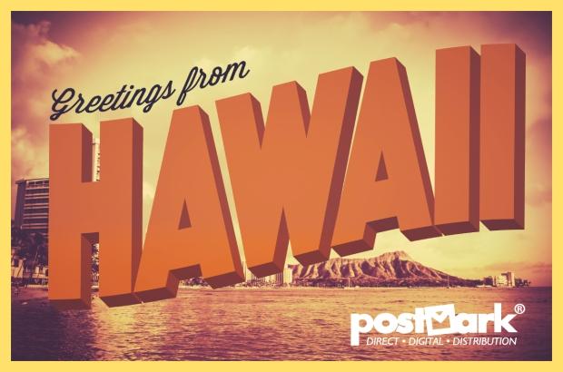 Hawaii Postcard with PostMark White Logo